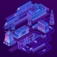 Vector Isometric City in Ultra Violet Colors