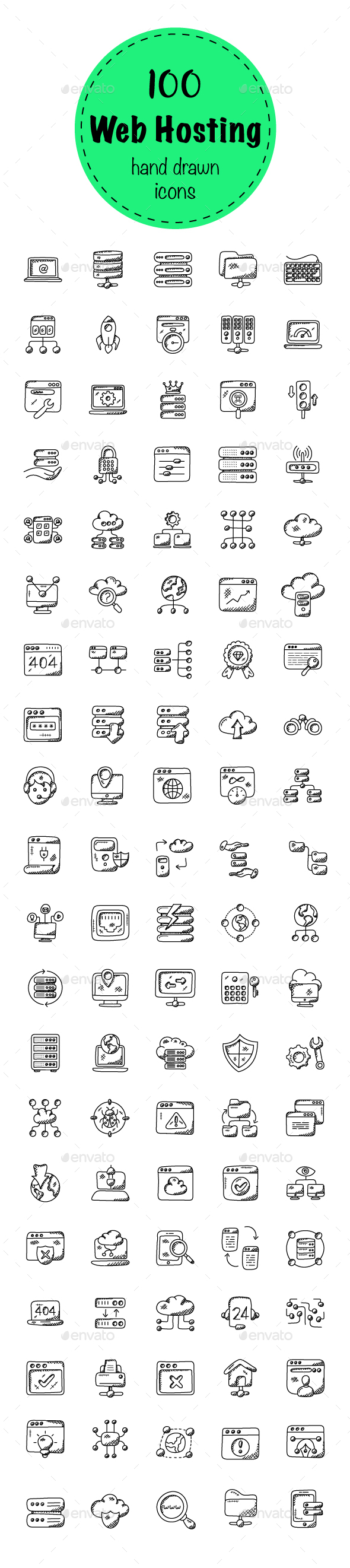 100 Web Hosting Doodle Icons - Icons