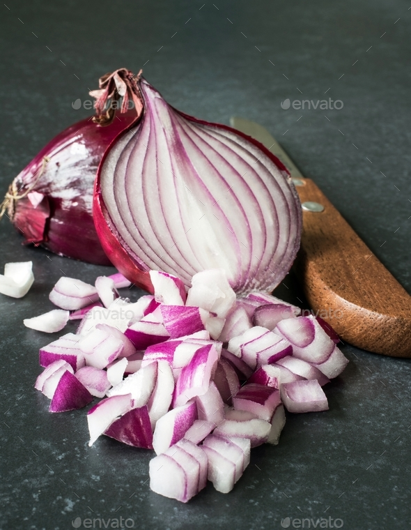 Chopped Red Onions - Stock Photo - Images