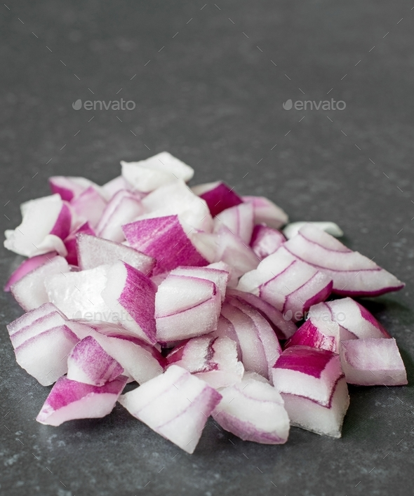 A Small Pile of Chopped Red Onions - Stock Photo - Images