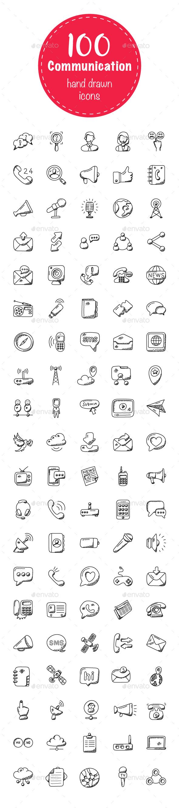 100 Communication Doodle Icons - Icons