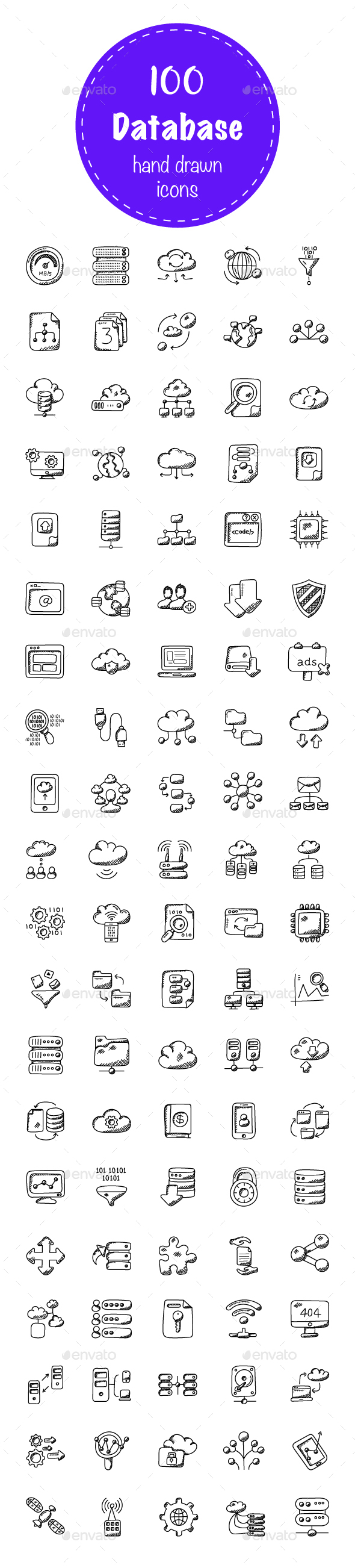100 Database and Storage Doodle Icons - Icons