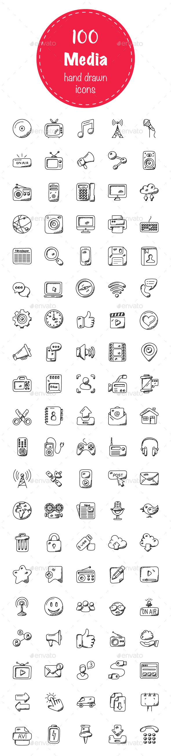 100 Media Doodle Icons - Icons