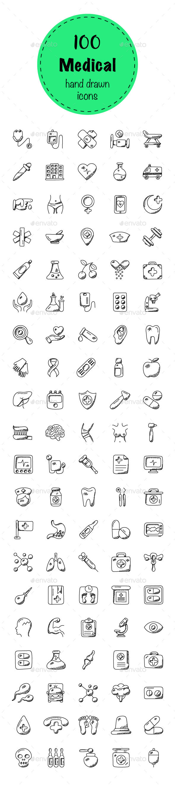 100 Medical and Health Doodle Icons - Icons