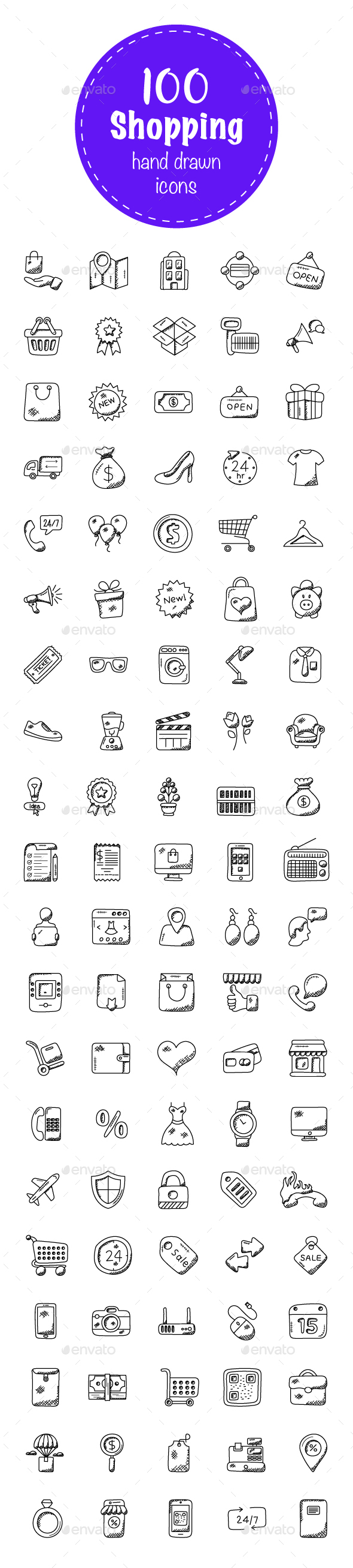 100 Shopping Doodle Icons - Icons
