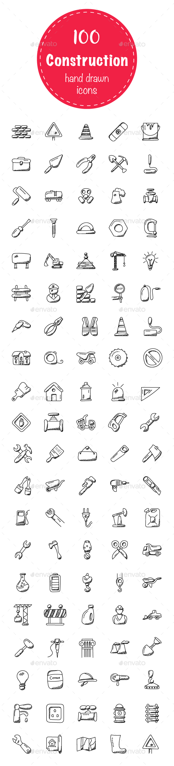 100 Construction Doodle Icons - Icons