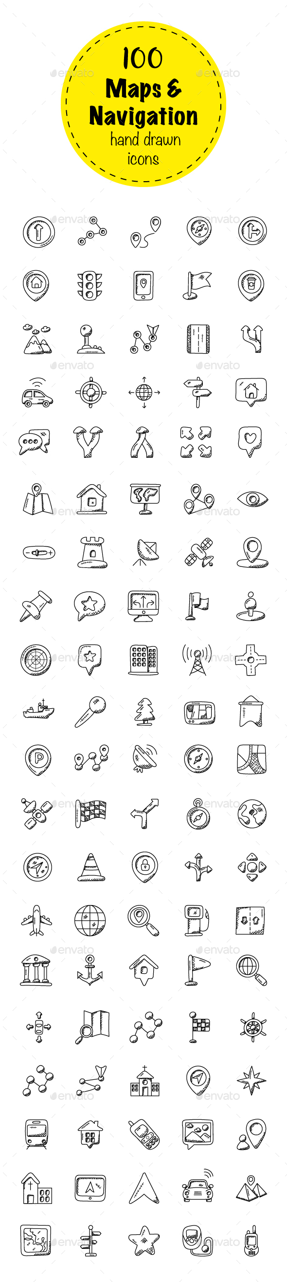 100 Maps And Navigation Doodle Icon - Icons