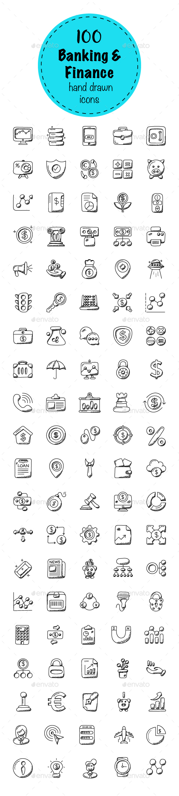 100 Banking and Finance Doodle Icons - Icons