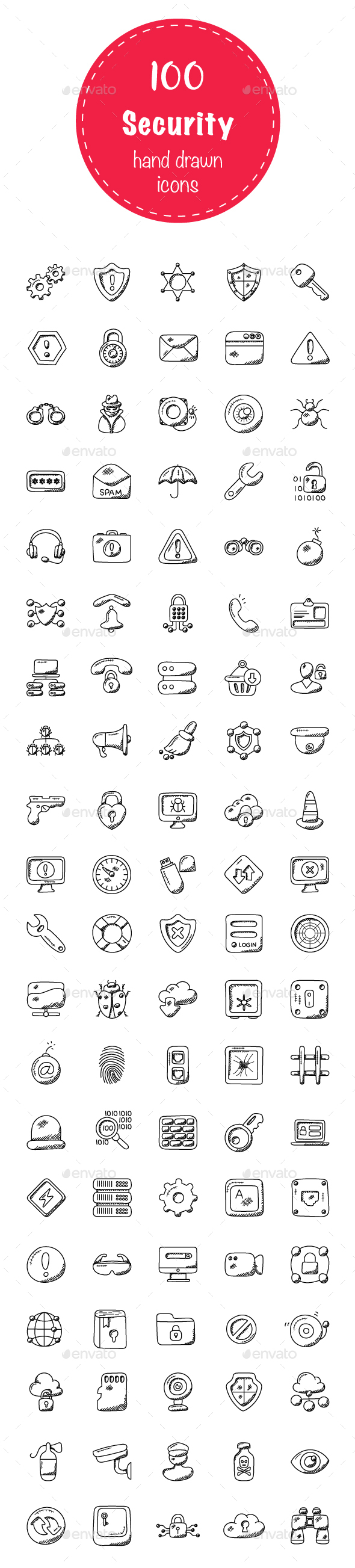 100 Security Doodle Icons - Icons
