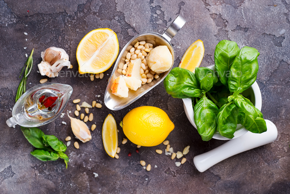 Ingredients for making pesto sauce on a stone background, - Stock Photo - Images