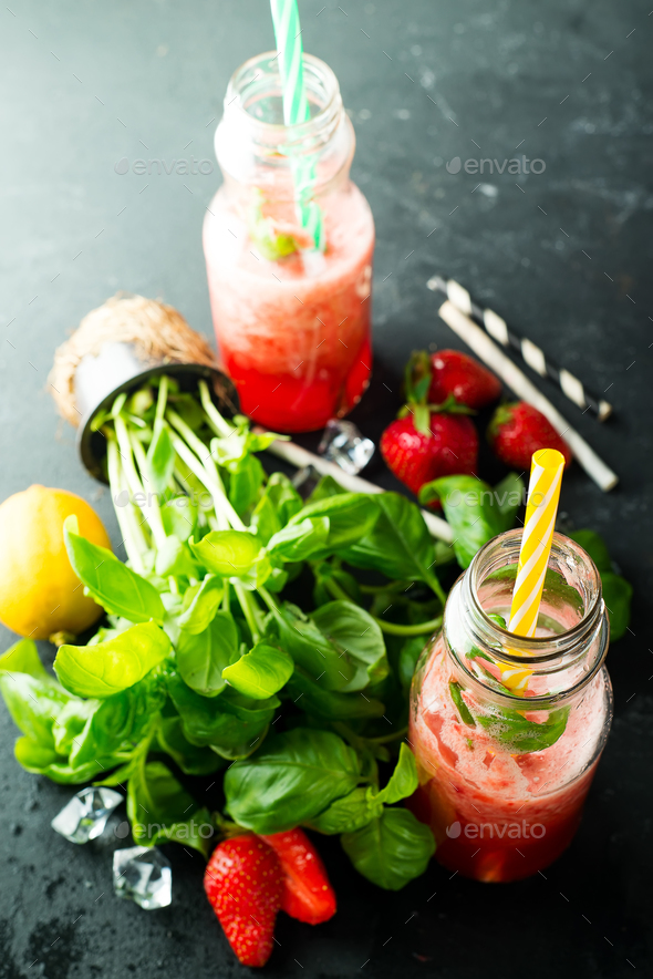 Ingredients for Refreshing summer drink with berries, lime and mint - Stock Photo - Images