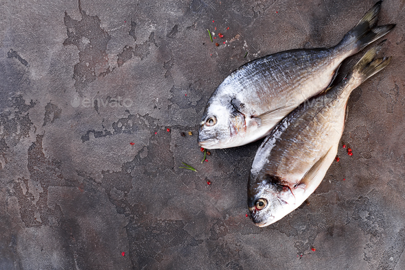 Raw fresh organic dorado or sea bream concrete background. - Stock Photo - Images