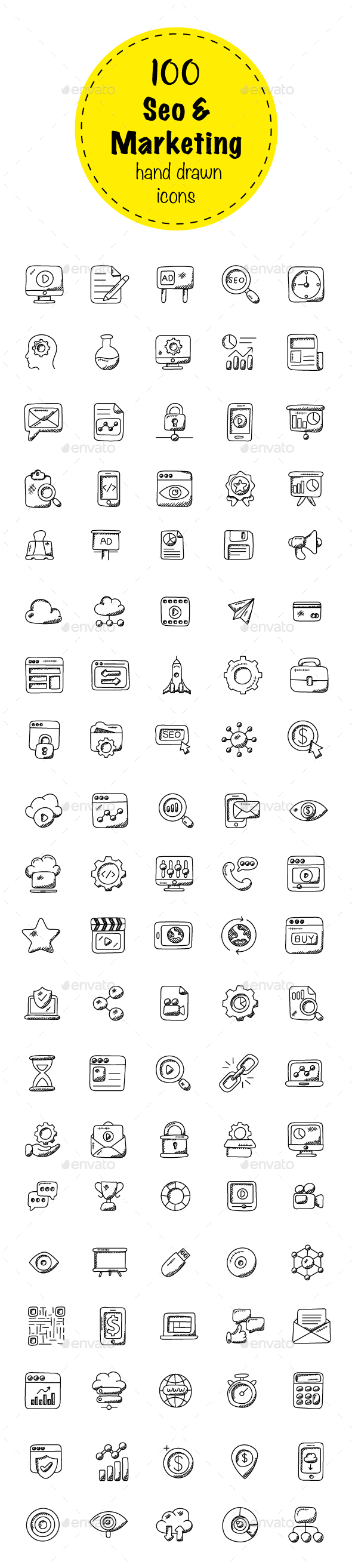 100 Seo and Marketing Doodle Icons - Icons