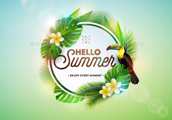Hello Summer Illustration with Toucan Bird - Backgrounds Decorative