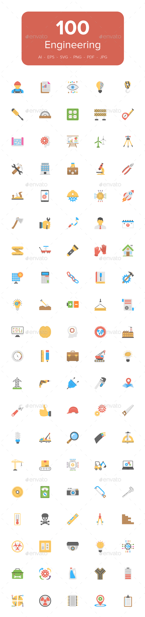 100 Engineering Flat Vector Icons - Icons
