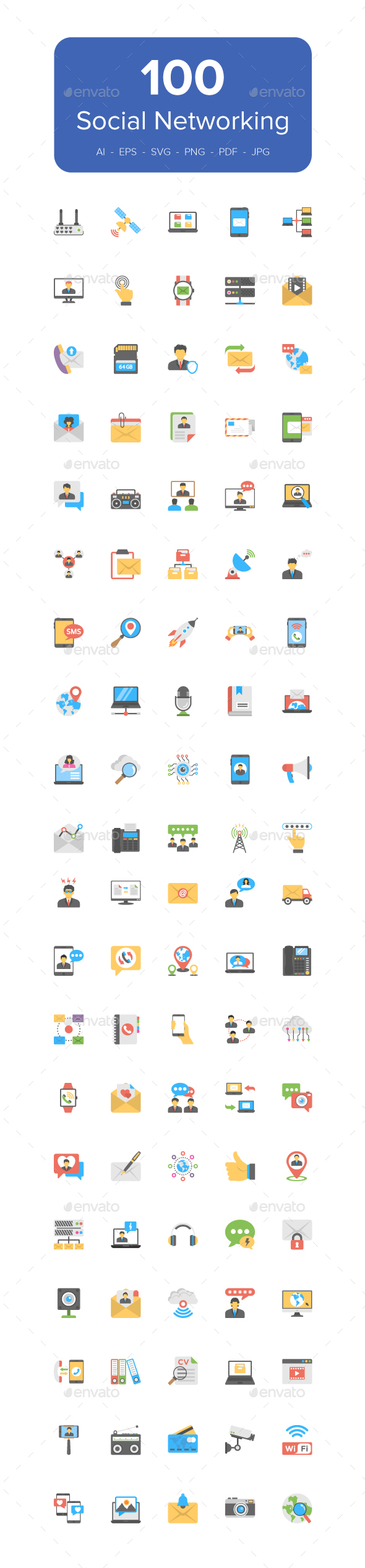 100 Social Networking Flat Icons - Icons