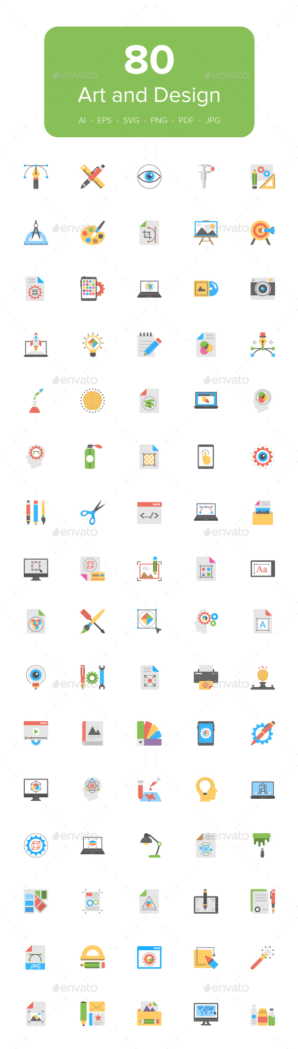 80 Art and Design Flat Icons Set - Icons