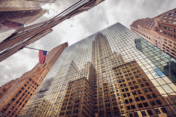 Looking up at New York City skyscrapers, USA. - Stock Photo - Images