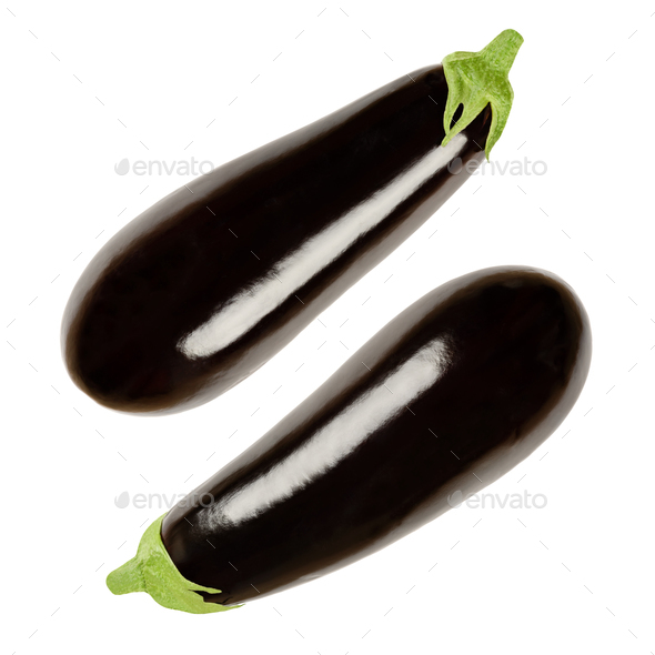Two eggplants from above, also called aubergine or brinjal - Stock Photo - Images