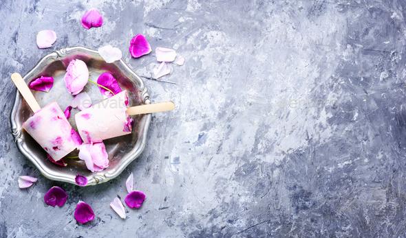 Sundae with taste of rose - Stock Photo - Images