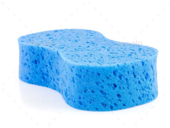 Blue sponge on white-6 - Stock Photo - Images