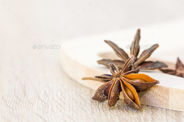 Close up Star anise seed on wood-2 - Stock Photo - Images