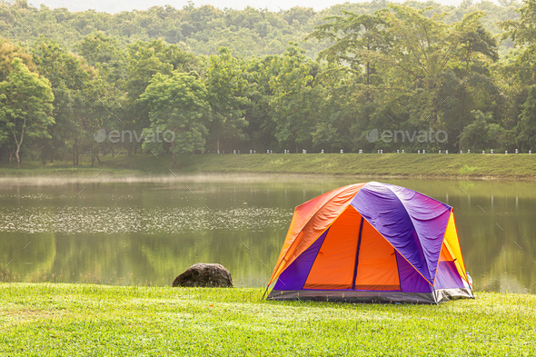 Dome tent camping at lake side _-6 - Stock Photo - Images