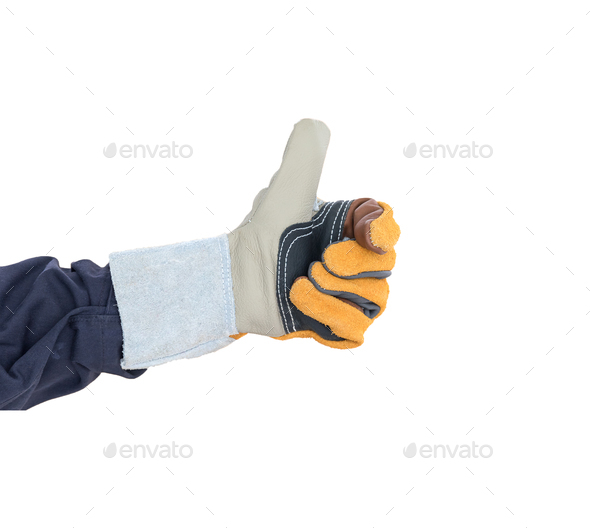 Hand with the thump up in rough leather glove on white - Stock Photo - Images