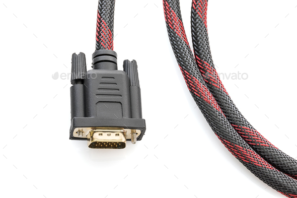 HDMI and VGA cable connector on white-2 - Stock Photo - Images