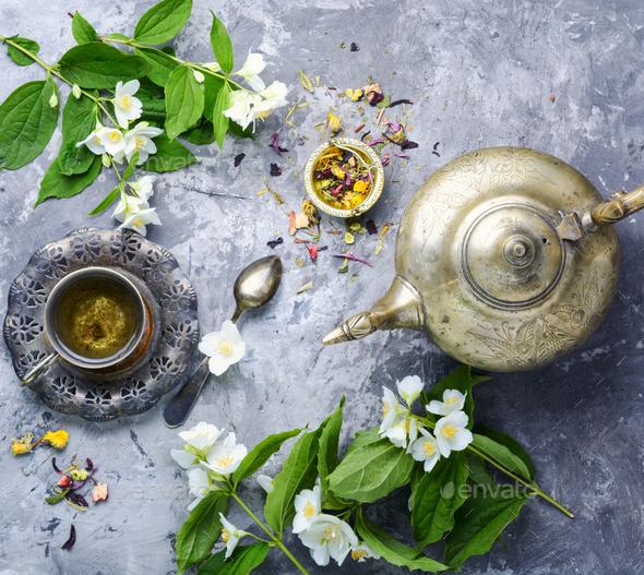 Tea with jasmine - Stock Photo - Images