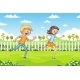 Two Children Are Running - GraphicRiver Item for Sale