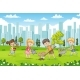 Children Planting Flowers - GraphicRiver Item for Sale