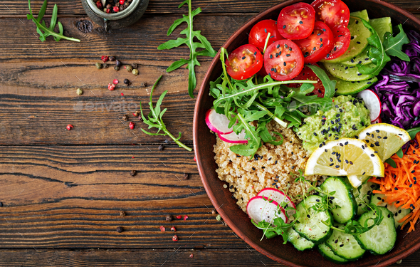 Vegetarian Buddha bowl with quinoa and fresh vegetables. - Stock Photo - Images