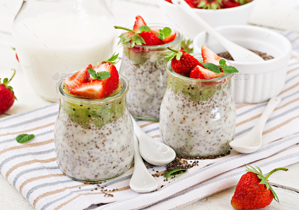 Detox and healthy superfoods breakfast in jar.  - Stock Photo - Images