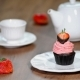 Fresh Chocolate Strawberry Cupcake with a Cup of Tea. - VideoHive Item for Sale
