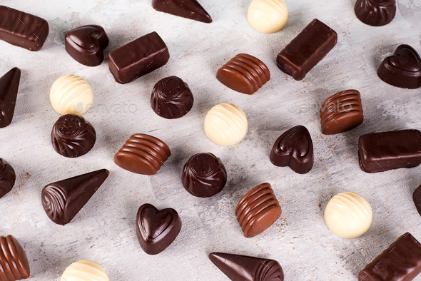 Collection pattern of photos assortment of chocolate candies - Stock Photo - Images