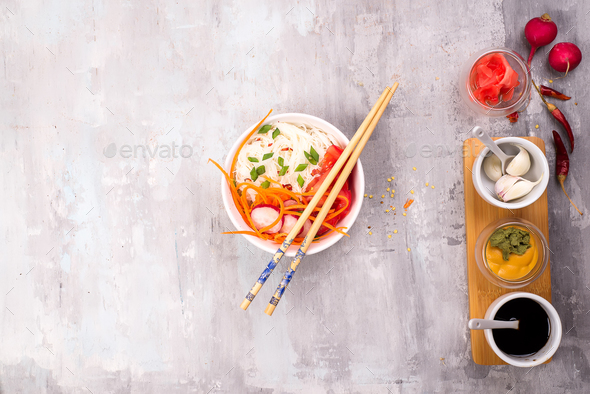 Ingredients for preparation of pickled ginger and kimchi from radish - Stock Photo - Images
