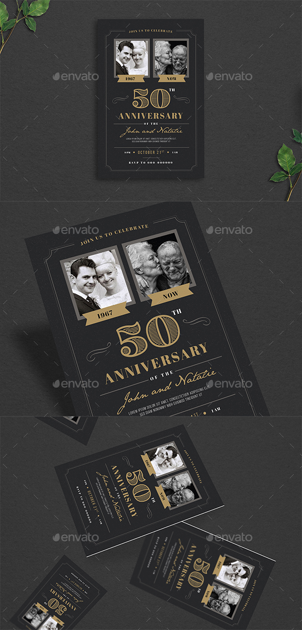 Wedding Anniversary Invitation - Cards & Invites Print Templates