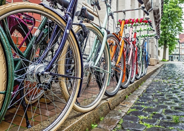 A Row of Colourful Bicycles - Stock Photo - Images