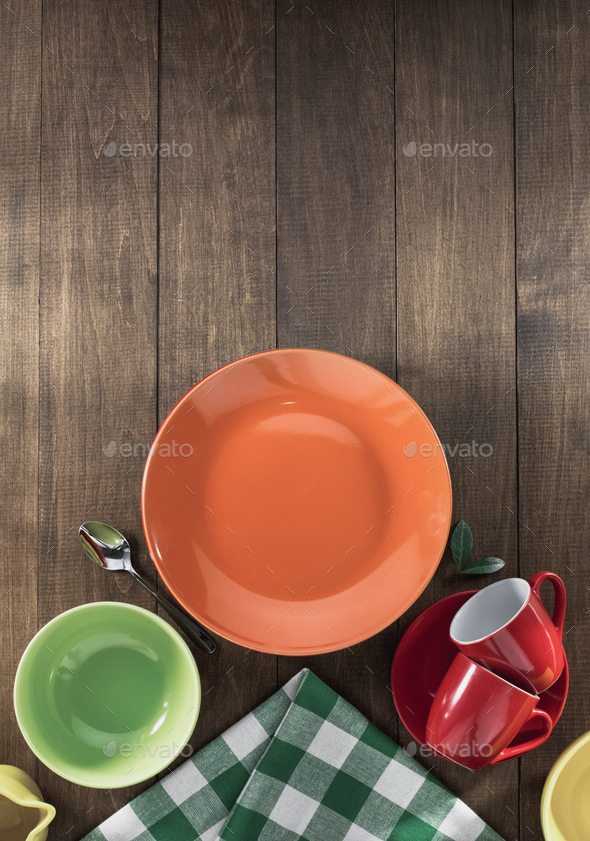 dishes set on wood - Stock Photo - Images