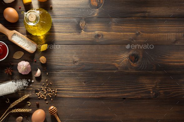 bakery ingredients on wood - Stock Photo - Images