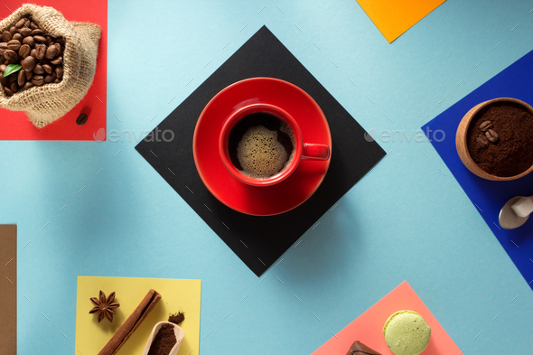 cup of coffee and ingredients - Stock Photo - Images