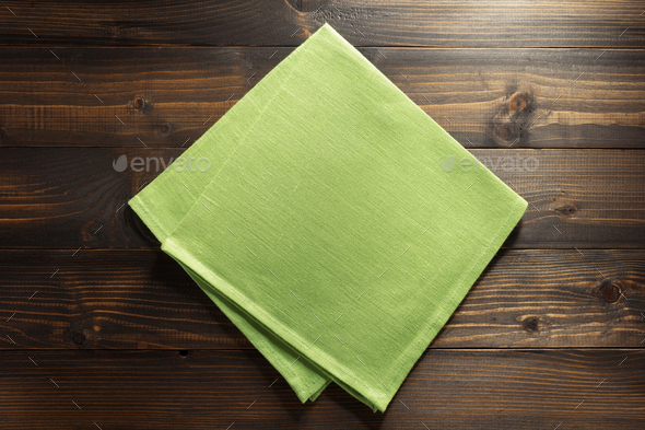 hessian burlap napkin on wood - Stock Photo - Images