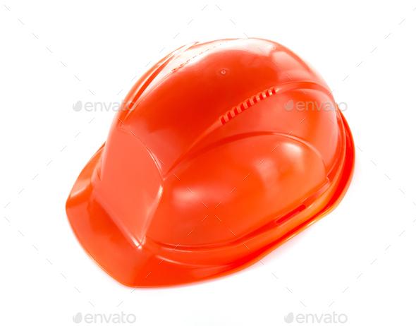 construction hard hat isolated on white - Stock Photo - Images