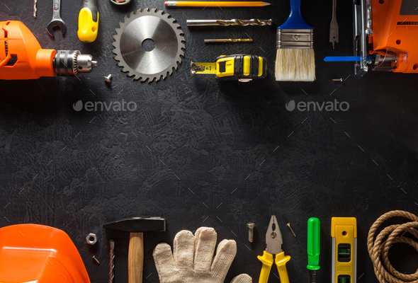 tools and instruments on black - Stock Photo - Images