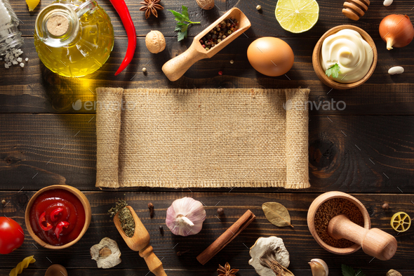 spice and herb on wood - Stock Photo - Images