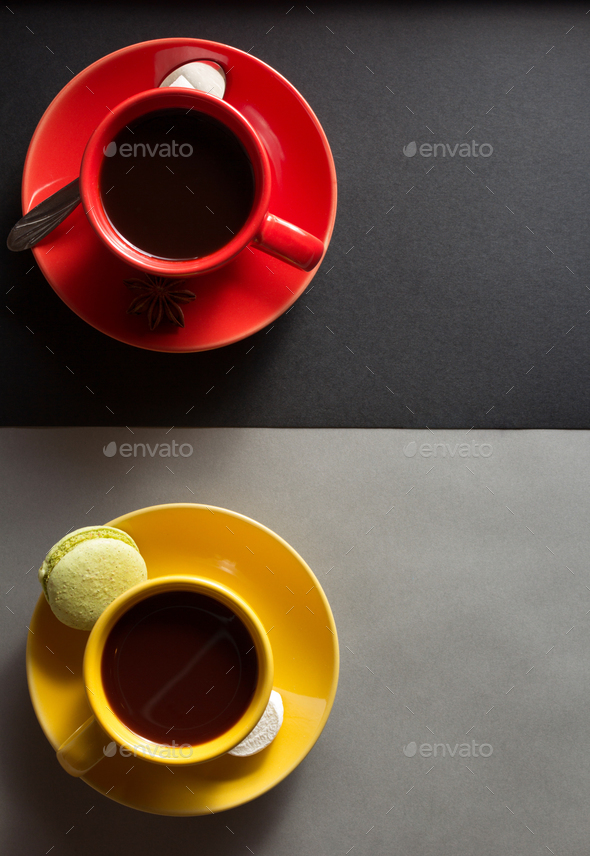 cup of coffee and cacao - Stock Photo - Images