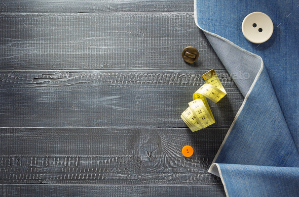 blue jeans texture on wood - Stock Photo - Images