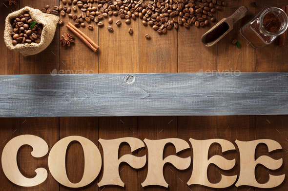 coffee letters and beans on wood - Stock Photo - Images
