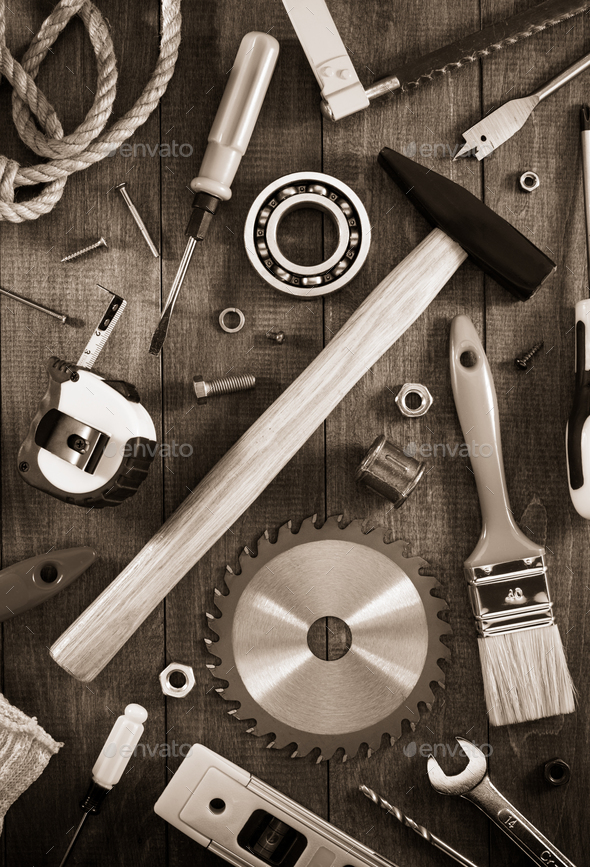 work tools and instruments on wood - Stock Photo - Images